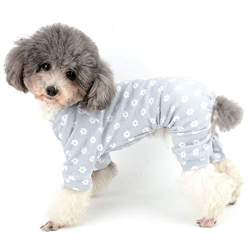 Ranphy Hunde-Pyjama mit Blumenmuster, süßer Baumwoll-Overall für Welpen, weich, bequem, mit 4 Beinen, für Hunde