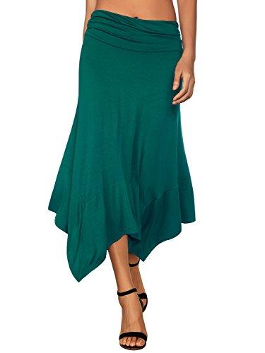 DJT Damen Elastische Taille Einfarbig Ausgestelltes A-Linie Faltenrock Blaugrün M -