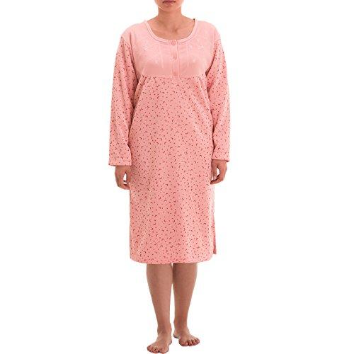 Lucky Thermo Damen Nachthemd mit Print, - Langarm Thermo Nachthemd