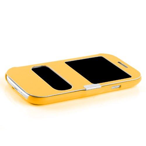 Etui iPhone 6 6s Etui à fenêtre   JammyLizard   Etui flip case avec fenêtre d'ouverture pour iPhone 6 6s, Bleu nuit JAUNE