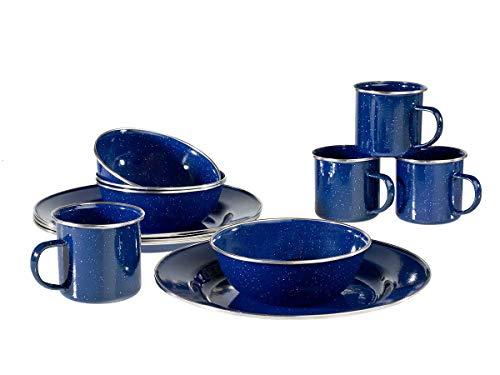 stockA&B Emaille Campinggeschirr Set 4 Personen mit Tassen, Teller, Schüssel (blau)