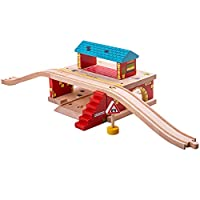 Bigjigs Rail Wooden Overground Station - Other Major Wood Rail Brands are Compatible