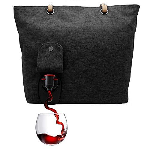PortoVino Stadttasche (Schwartz) - Für 2 Flaschen Wein auf dem Weg. -