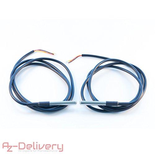 AZDelivery 1M Kabel DS18B20 digitaler Edelstahl Temperatursensor Temperaturfühler, wasserdicht für Arduino und Raspberry Pi mit GRATIS eBook! (2 Stück)