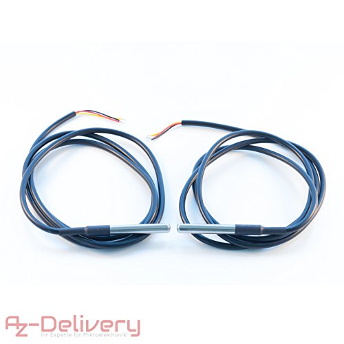 AZDelivery 2 x Cable 1m DS18B20 Sensor de Temperatura Digital de Acero Inoxidable, Sensor térmico, Resistente al Agua para Arduino, Raspberry Pi y microcontrolador
