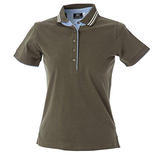 CHEMAGLIETTE! Polo Manica Corta Donna T-Shirt con Colletto Cotone Jersey Tre Bottoni JRC Rodi Army