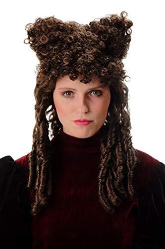 4 Damenperücke Halloween Karneval Gothic Barock Gräfin Hexe Dunkle Fee Beehive braun Locken Hörner ()