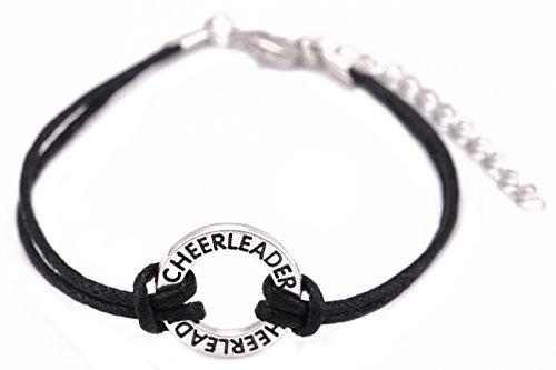 TEAMER Trendige Nachricht Cheerleader Sport Wax Kordel Armband Kreis Charm Schmuck für Teens Girls