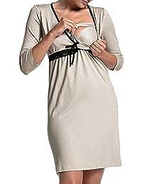 9b5f06b1a952 Italily Donna Gravidanza Manica Lunga V Collo Raccogliere Pigiama Vestito  maternità Abiti Allattamento Vestito Casa Camicia da…