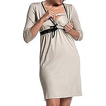 STRIR-Ropa Premamá de Lactancia Algodón Pijama para Mujer Vestido de Lactancia Maternidad de Noche