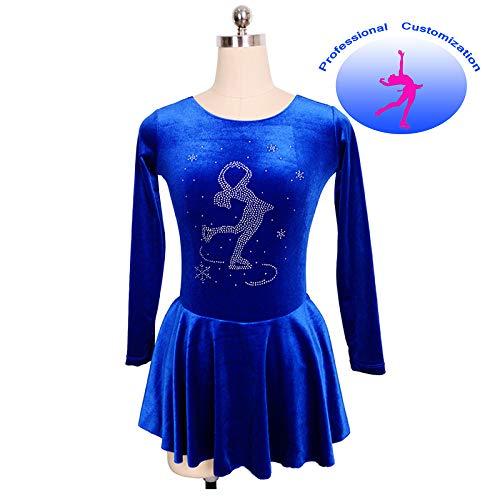 Gymnastik Kostüm Rhythmische - CUIXI Mädchen High-End-Kostüm Stretchy Strass Eislaufen Kleid Velvet Rhythmische Gymnastik Langarm-Kleid Blue,Blue-XXXS(chest55cm)