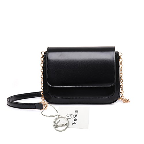 Yoome Retro Flap Bag Pure Color Alley Stile Elegante Zigzag Catena Pieghevole Borse Piccole Per Le Donne - Marrone Nero