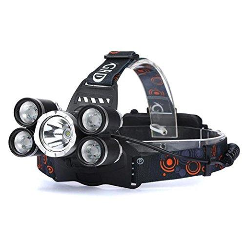 Petzl Taschenlampe Kopf (35000LM Stirnlampen, CICIYONER 5x CREE XM-L T6 LED Scheinwerfer Scheinwerfer Taschenlampe Kopf Licht Lampe 18650 (5 X LED, A))