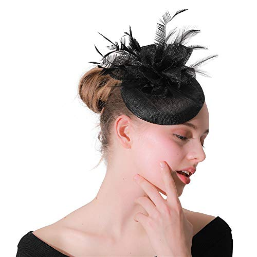 DMMW-Accessories Fascinator-Hut Floral Federhut mit Stirnbandclip Elegante Blume Feder Stirnbandhut Cocktail Tea Party Kopfbedeckungen (Color : Black, Size : Free Size) (Black Tea-party-hut)