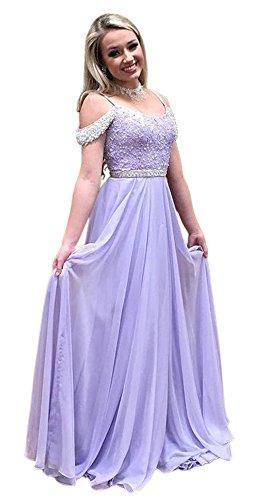 Dressylady Damen Kalt Schulter Beading Applique Lange Chiffon Abendkleid 16 Lavendel (Chiffon-applique Bodenlangen)