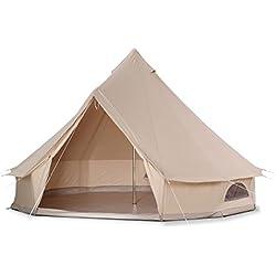 bell tent coton canvas tente cloche avec fermeture Éclair dans le tapis de sol (Diamètre 4M)
