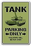 Funny Sign Geschenk Tank Parking Sign Funny APC Militär Panzer Armee zurückziehen und Outdoor-Metall Aluminium Schild Wandschild Dekoration
