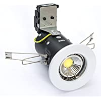 Pack of 10 x Fire Rated 5 Watt COB Dimmable LED Downlight in Pressed White in Warm White 3000k LED