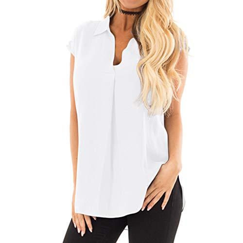 Linkay T Shirt Damen Kurz ÄrmellosV-Ausschnitt Bluse Tops Plissiert Gekräuselt Oberteile Mode 2019 (Weiß, Large)