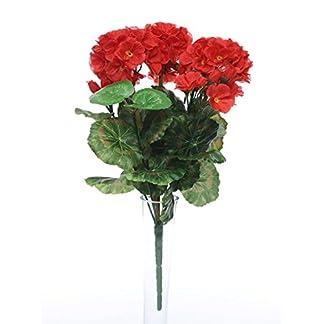 Arbusto de flores de geranio rojo artificial, 35 cm, ideal para cajas de ventana para colgar cestas y hogar