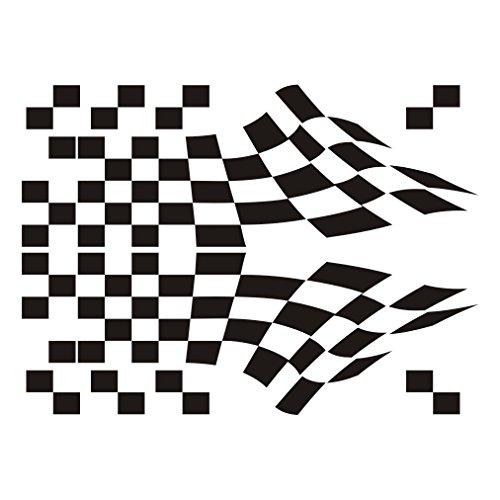 3014__B Autoaufkleber Racing Flag Aufkleber ( Black) (Quad-scheibenaufkleber)