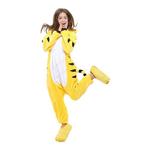 Tiger Plüschkostüm Einteiler Jumpsuit für Erwachsense - Orang/Weiß - Gr. (Tiger Kostüm Damen)