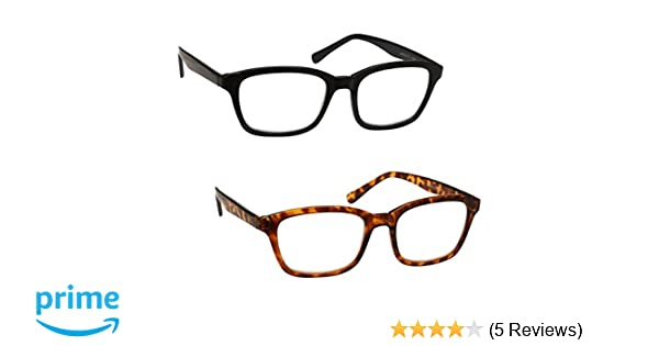 dccae272e4 UV Reader Black   Brown Tortoiseshell Reading Glasses Value 2 Pack Large  Designer Style Mens Womens UVR2PK018 019 +3.50  Amazon.co.uk  Health    Personal ...