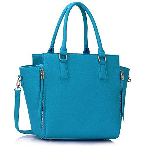Meine Damen Umhängetaschen Frauen Große Designer Handtaschentoteschulterkunstleder Modische Taschen (A - Schwarz) Teal