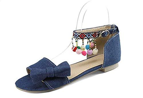 Damen Sandalen/Denim/Ethno Stil/Butterfly Knot/Color Ball Beads, Komfort Flache Schuhe, 1cm, 32-43 Knot Wedge Sandal