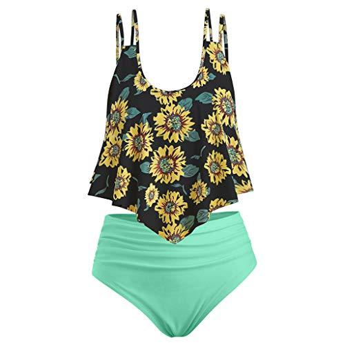 2019 Neu Damen gekräuselte hohe Taillen Sonnenblumen Druck Tankini,Frauen Sommer beiläufiger Badeanzug Bikini Satz des Strand zwei Badebekleidungs Push up