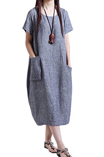 Yulinge Frau Sommer Lässig, Baumwolle Und Leinen (Plus Size - Kleid Blue XXL
