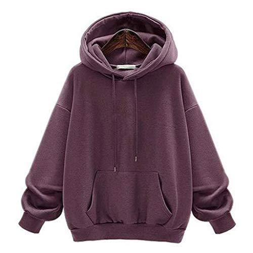 Mymyguoe Damen und Herren Pullover Sweatshirt Pulli Damen Strick-Pullover Frauen Basic Hoodie mit Kapuze Damen Pulli Langarm-Sweatshirt Das Beste in Kleidung Frauen Einfarbiger Hoodie -