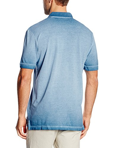 TOM TAILOR Herren Poloshirt Overdyed Polo with Chest Badge Blau (even blue 6673)