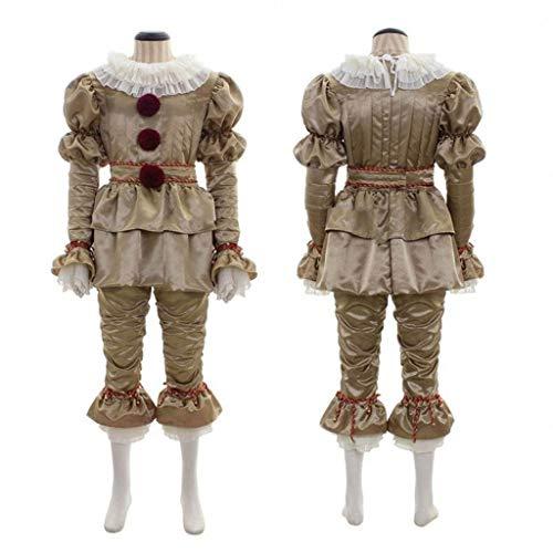 DONGBALA Clown Kostüme Halloween Männer Frauen Voller Anzug Pennywise Cosplay Tanzender Clown Satin Chiffon Halloween-Party-Abendkleid-Kleidung Für Erwachsene (Gold) (Girl's Jester Kostüm)