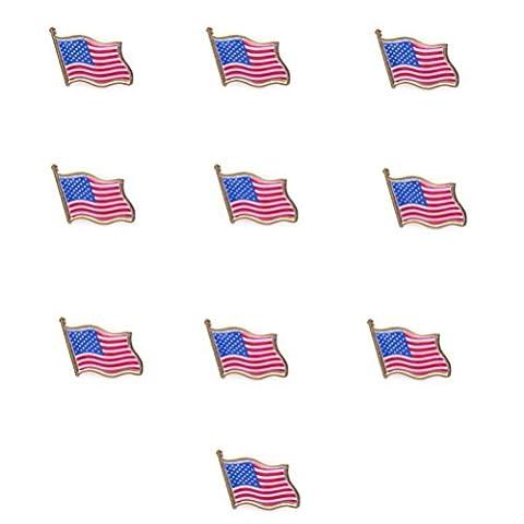 OULII Amerikanische Flagge am Revers Pin USA USA Hut Tie Tack Abzeichen Pin 10PCS
