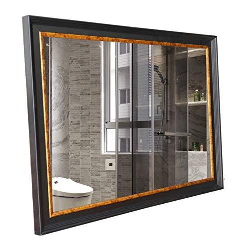 Specchio da parete con cornice in legno di vanità a forma di rettangolo Specchio da parete con cornice in ceramica orizzontale e verticale da bagno Specchio sospeso decorativo per bagni Camera da lett