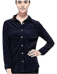 OMAS Las Mujeres de ASOS Camisa de Pana Las señoras de Manga Larga Collar de Cuello
