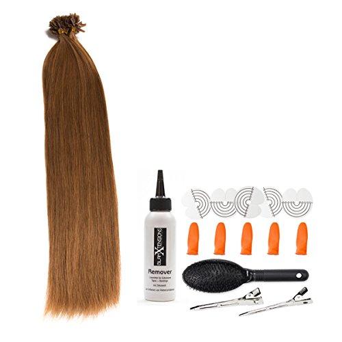 Hellbraune Keratin Bonding Extensions 100% Remy Echthaar Human Hair - 200x 1g 45cm Glatte Strähnen - Lange Haare mit Keratin Bondings U-Tip Haarverlängerung Haarverdichtung-Farbe:#12 Hellbraun (Blond-haar-verlängerung Ombre Dunkel)