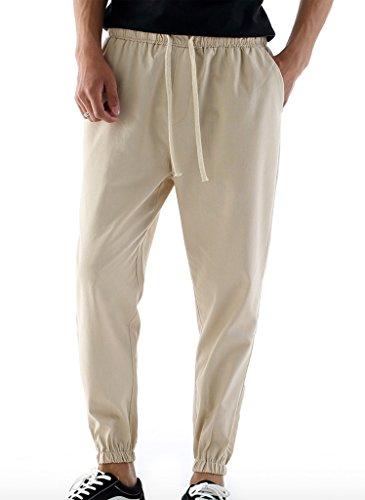 WSLCN Homme Jogging Pantalon en Lin Taille Elastique Cordon de Serrage Pantalon du Sport Beige