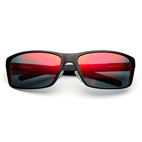 Xiuxiushop Sonnenbrille Zwei-Ton Reflektierende Linse Vintage Retro Style Classic Frame Unisex UV400 Schutz (Color : RED)