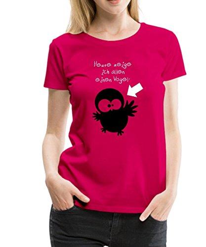 Spreadshirt Eine Eule // Heute zeige ich allen einen Vogel. // Für Ladys Frauen Premium T-Shirt, 3XL, dunkles Pink (Lustig Womens T-shirt Dunklen)