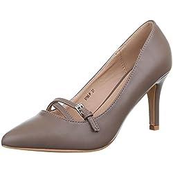 Damen Schuhe, 9786-P, PUMPS, HIGH HEELS, Synthetik in hochwertiger Lederoptik , Grau Braun, Gr 38
