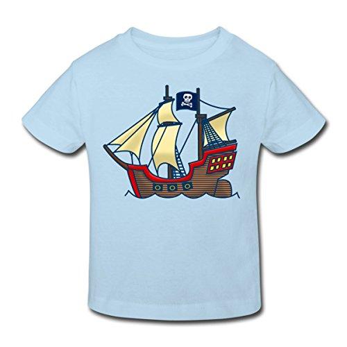 Continental Mädchen T-shirt (Spreadshirt Piratenschiff Kinder Bio-T-Shirt, 110/116 (5-6 Jahre), Hellblau)