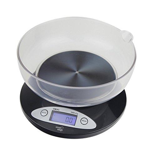 Digitale Küchenwaage mit austauschbarer Schüssel 5000g x 1g - Schwarz [version:x8.6] by DELIAWINTERFEL