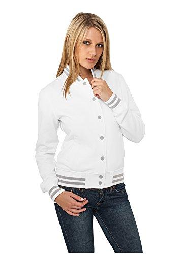 Urban Classics Damen Collegejacke Ladies College Sweatjacket, Farbe white, Größe L