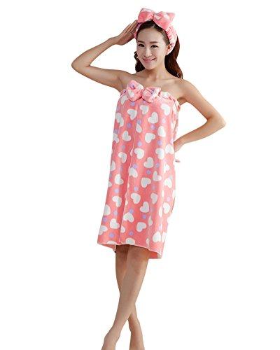ZiXing Juego de toalla de bow para mujer, albornoz de baño, toalla de baño, toalla de baño, diadema de lazo RedHeart OneSize