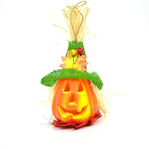 Halloween Deko Grusel Dekoration Set Halloween glühende Vogelscheuche Kürbis Leuchtet grünen Hut 1 Pack für Halloweendeko Make-up-Party Halloween Dekoration