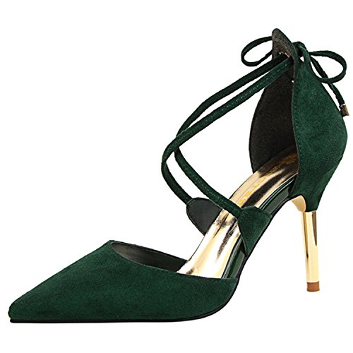 Oasap Women's Pointed Toe Cross Strap Stiletto Sandals Deep green