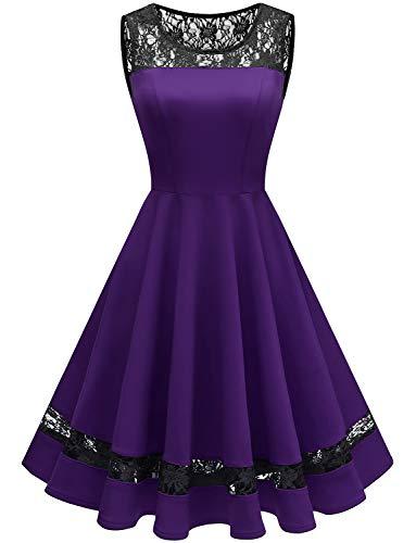 GardenWed 1950er Vintage Rockabilly Kleider Damen Retro Spitzenkleid Cocktailkleid Abendkleid Purple L -