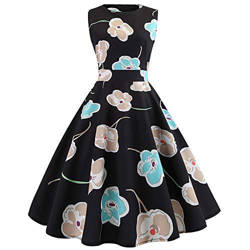 Xmiral Damen Kleid Vintage Sleeveless O Neck Ballkleid Abend Druck Partei Prom Swing Kleider...